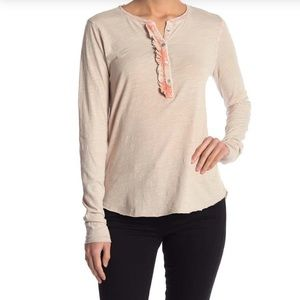 NWT LUCKY Brand  Ruffle Henley Long Sleeved Tee!
